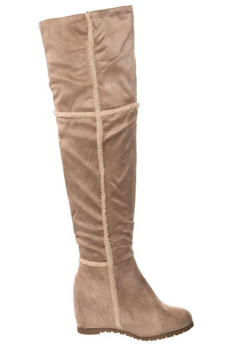 womens fleece heel suede lined fur faux flat faux knee