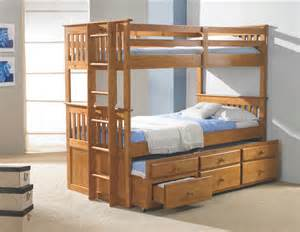 Bunk Bed With Trundle And Drawers Kid S Captain S Bunk Bed W Trundle And 3 Drawers Ebay
