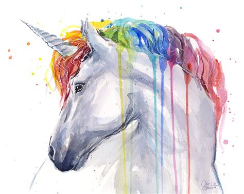 rainbow unicorn watercolor by olechka01 watercolor animals rainbow unicorn
