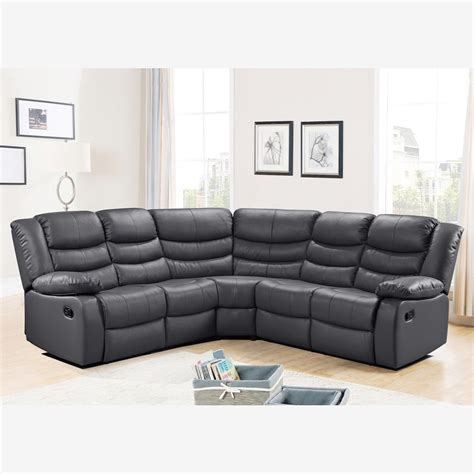 belfast corner sofa with recliner in grey bonded leather