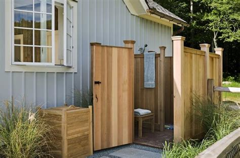 outside bathrooms ideas 33 design ideas for wooden and metal outdoor shower enclosures