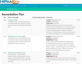remediation plan template hipaa security risk analysis hipaa one self assessment tool
