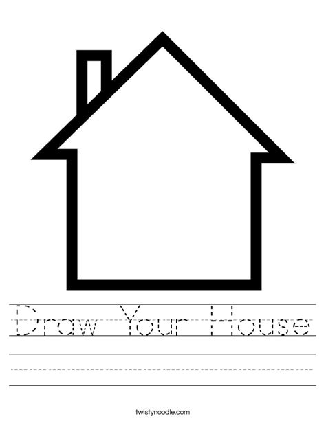 my house printable activities draw your house worksheet twisty noodle