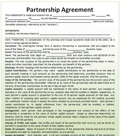 business partnership template business partnership agreement template free 2016