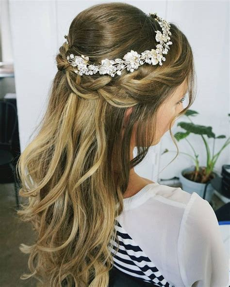 Bridal Hair Half Up Side by Half Up Half Wedding Hairstyles Partial Updo Bridal