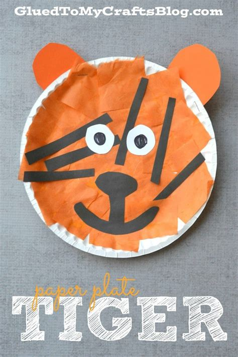Tiger Paper Plate Craft - paper plate tiger kid craft tigers craft and zoos