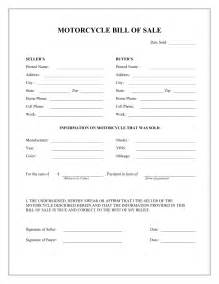 motorcycle bill of sale form template   bill of sale motorcycle
