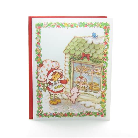 Strawberry Card Gold strawberry shortcake card with custard and