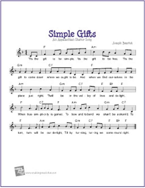 simple gift simple gifts free voice piano guitar sheet lead