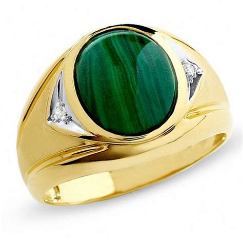 s malachite ring with accents in 10k gold