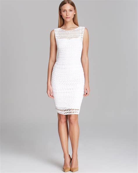 Ck Calvin Klein Sleevlees Dress calvin klein dress sleeveless open crochet in white lyst