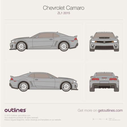 2015 chevrolet camaro blueprints outlines