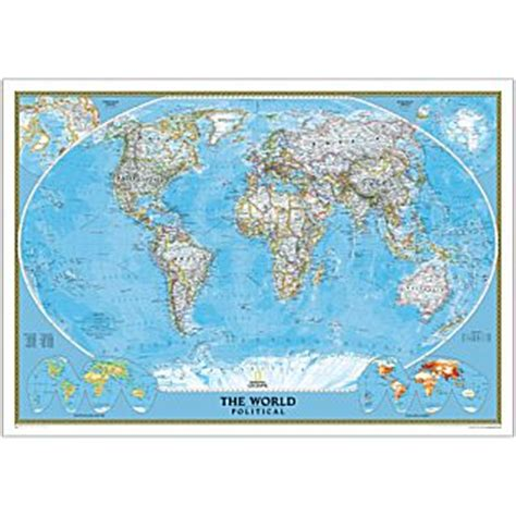 world 3 sheet political mural national geographic | maps