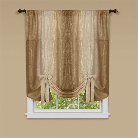 tie up shades curtains ombre window curtain tie up shade 50x63 sandstone