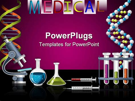 Powerpoint Template Lab Equipment With Microscope Vials Filled With Liquids Syringes Test Science Powerpoint Templates Free