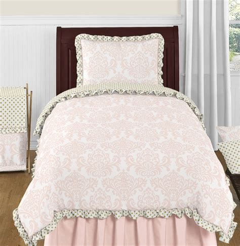 Blush Pink Gold And White Amelia 4pc Twin Girls Bedding Pink And Gold Bedding Sets