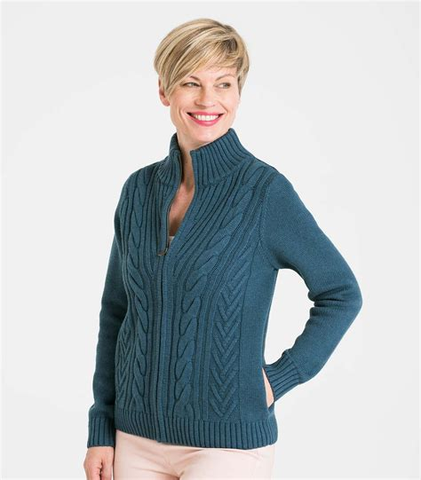 Zip Cardigan smokey blue wool blend s cable zip cardigan woolovers