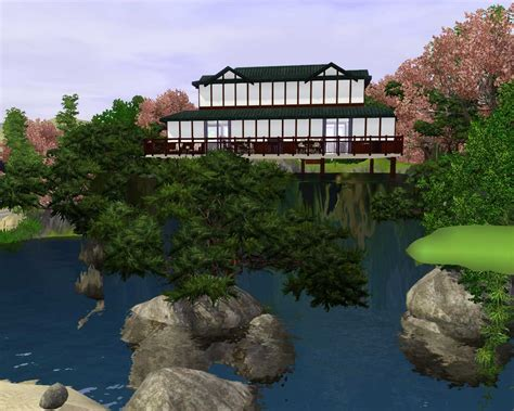 waterfall house mod the sims japanese waterfall house