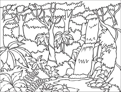 jungle tree coloring page jungle background coloring page with beautiful waterfall