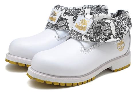 Sp Boot Flower White timberland s heritage roll top flower neck boots white