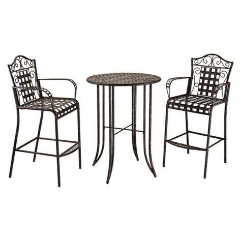 Outdoor Bistro Table Set Bar Height Mandalay 3 Iron Bar Height Patio Bistro Furniture Set Antique Black Target