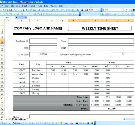 excel time sheet template employee time tracking