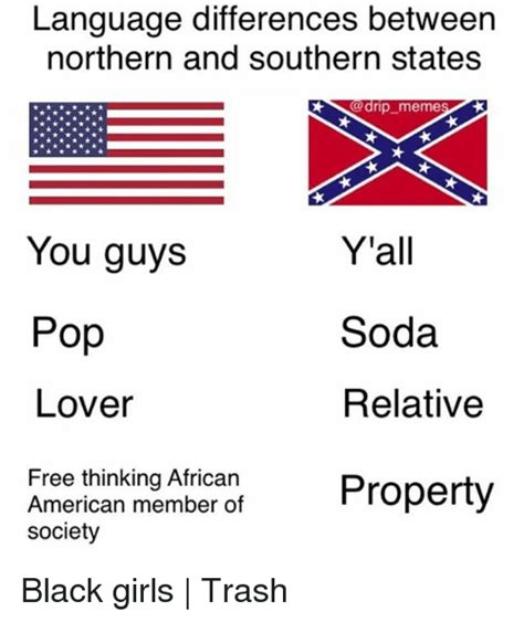 Language Memes - language differences between northern and southern states