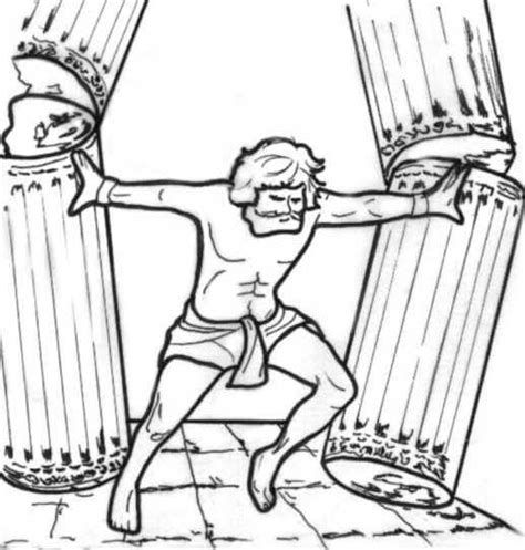 Samson Pillars Coloring Page by Pin Sanson Colouring Pages On