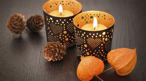 decoracion de otono  velas recipiente
