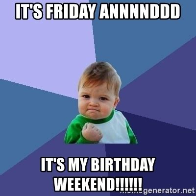 Birthday Weekend Meme - birthday weekend meme 25 best memes about its my birthday