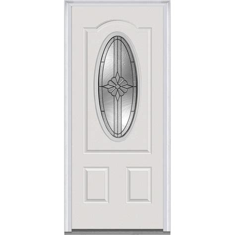 Milliken Millwork 37 5 In X 81 75 In Dahlia Decorative Home Depot Entry Doors With Glass