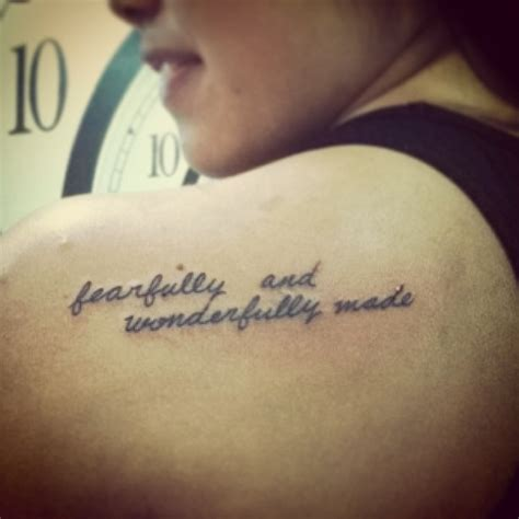 bible verse tattoo on shoulder blade fearfully and wonderfully made tattoo back shoulder
