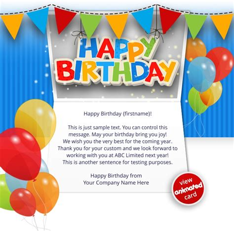 birthday card email templates free corporate birthday ecards employees clients happy