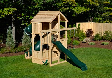 swing sets for small spaces cedar swing sets quad space saver deluxe