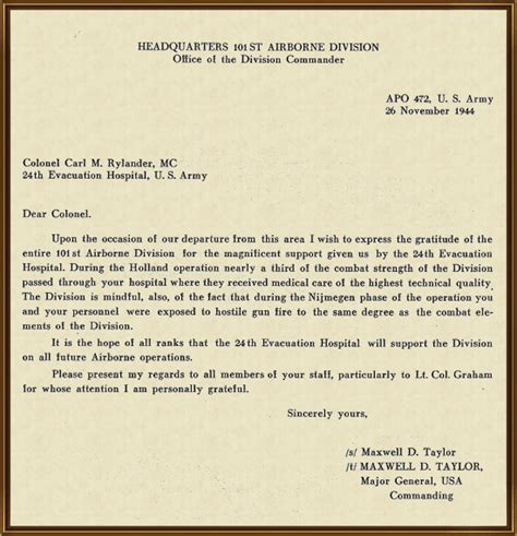 Parent Letter Va Copy Of Letter Of Appreciation Addressed To The 24th Evacuation Commanding Officer For The
