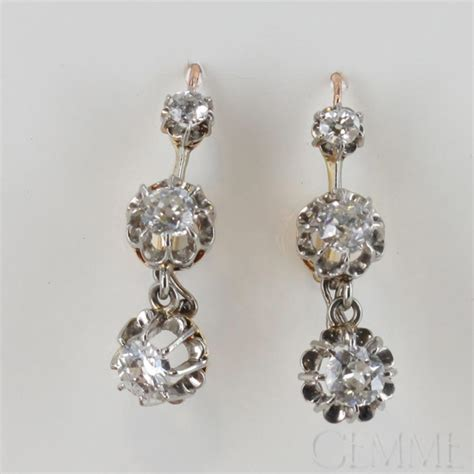 boucles d oreilles dormeuses anciennes diamants taille