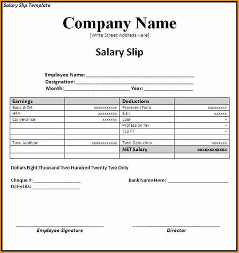 salary invoice template 5 salary invoice template simple salary slip