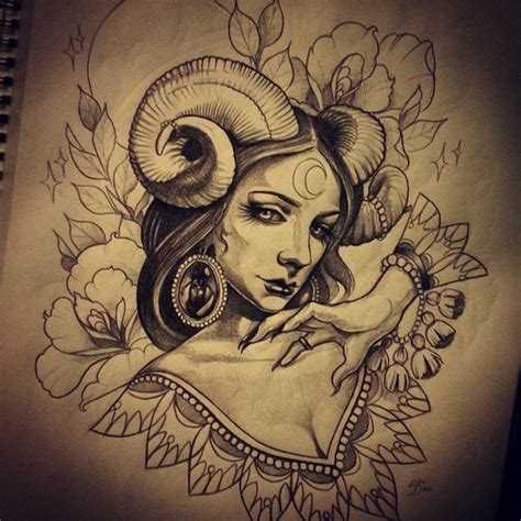 female devil tattoos designs beautiful black and white with ariel horns