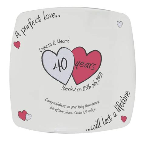 Ruby Wedding Anniversary Wishes For Parents by Personalised Ruby Wedding Anniversary Plate Buy From