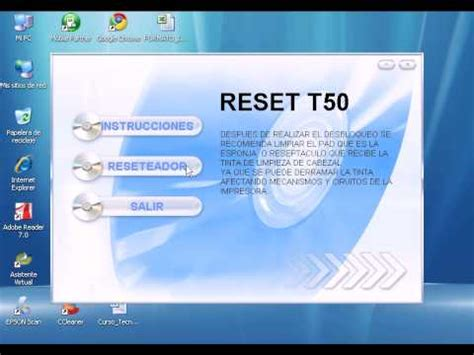 reset epson t50 by orthotamine adjustment program epson t50 reset epson youtube