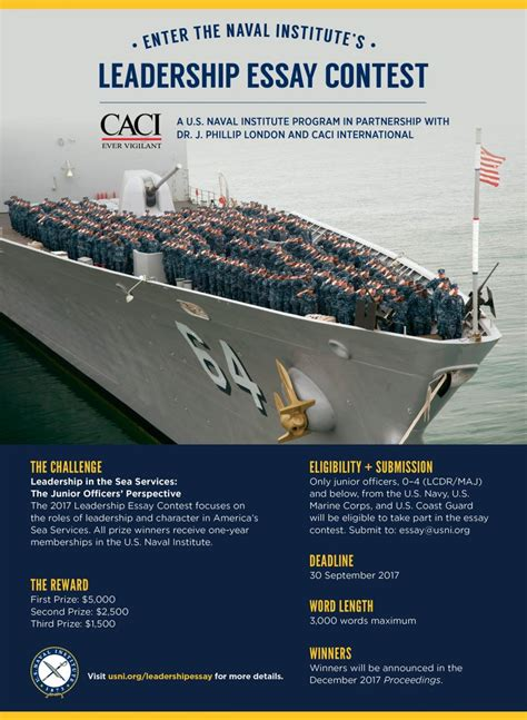 Navy Essay Contest by Leadership Essay Contest U S Naval Institute