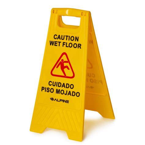 Alpine Industries   Yellow Multi Lingual Caution Wet