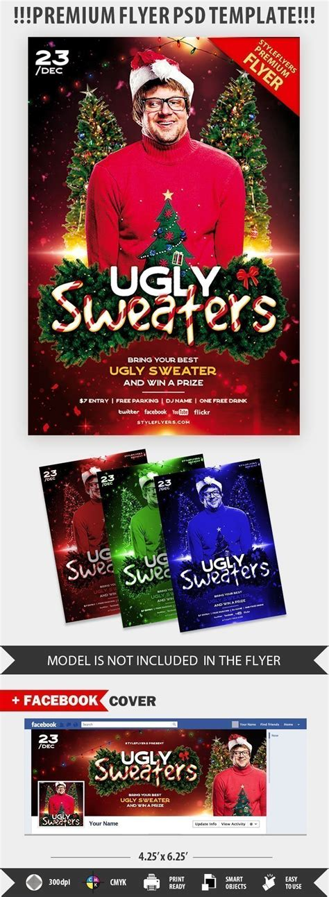 Ugly Sweaters Psd Flyer Template 21884 Styleflyers Sweater Flyer Template