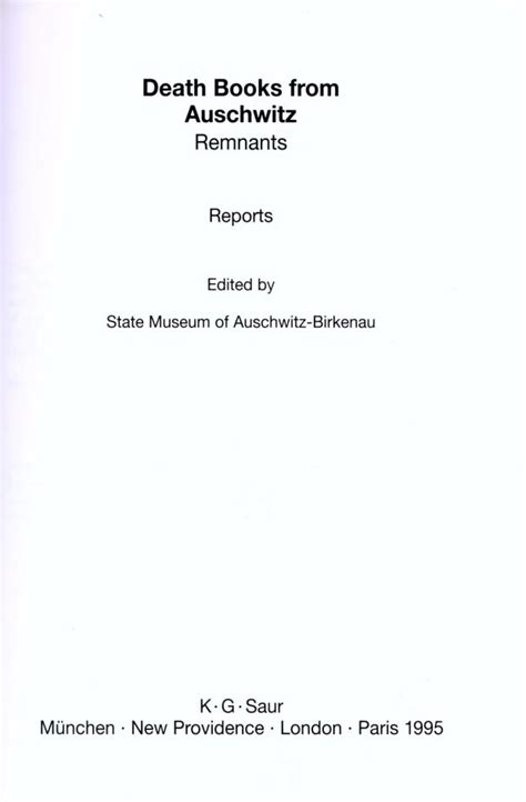 Auschwitz Records Benjamin Hersch Lustig