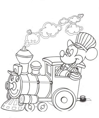 Mickey Mouse Train Coloring Pages | disney mickey mouse on the train coloring pages
