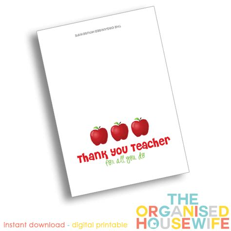printable thank you cards for teacher appreciation teacher appreciation thank you card