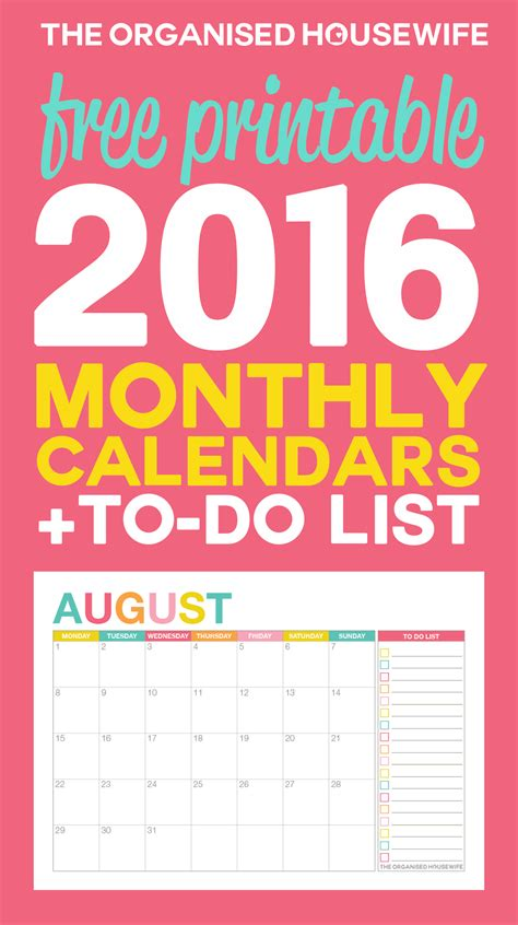 printable monthly calendar australia 2016 free printable 2016 monthly calendar with to do list the