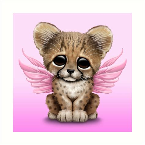 """""""Cute Baby Cheetah Cub with Fairy Wings on Pink"""" Art"""