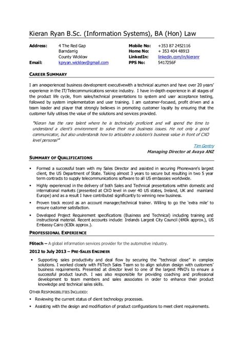 Business Executive Sle Resume by Kieran Cv Business Development Executive Pre Sales Engineer