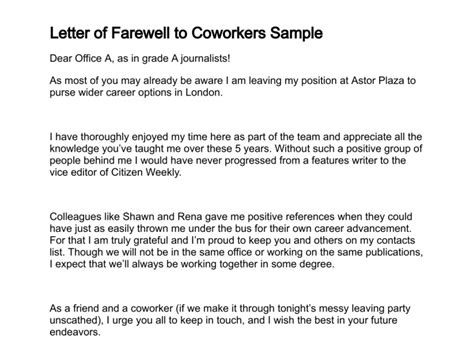 thank you letter to a friend at work letter of farewell